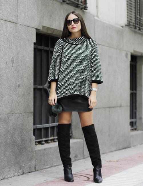 minifalda con botines